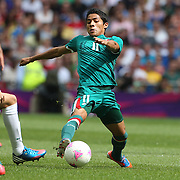 Javier  Aquino, Mexico, in action during the Brazil V Mexico Gold Medal Men's Football match at Wembley Stadium during the London 2012 Olympic games. London, UK. 11th August 2012. Photo Tim Clayton