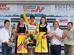 12.07.2015, Bregenz, AUT, Österreich Radrundfahrt, 8. Etappe, von Innsbruck nach Bregenz, im Bild Victor Gonzalez de la Parte (ESP, 1. Platz Gesamtwertung) // f.l.t.r. Benjamin King of the USA Sven Erik Bystrom of Norway during the Tour of Austria, 8th Stage, from Innsbruck to Bregenz, Bregenz, Austria on 2015/07/12. EXPA Pictures © 2015, PhotoCredit: EXPA/ Reinhard Eisenbauer