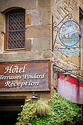 Hotel sign, Mont Saint-Michel, Normandy, France