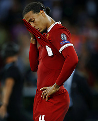 Virgil van Dijk of Liverpool FC looks dejected after 3-1 Real Madrid during the UEFA Champions League final between Real Madrid and Liverpool on May 26, 2018 at NSC Olimpiyskiy Stadium in Kyiv, Ukraine