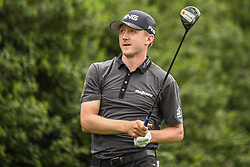 May 5, 2018 - Charlotte, NC, U.S. - CHARLOTTE, NC - MAY 05: Mackenzie Hughes tees off during the 3rd round of the Wells Fargo Championship on May 05, 2018 at Quail Hollow Club in Charlotte, NC. (Photo by William Howard/Icon Sportswire) (Credit Image: © William Howard/Icon SMI via ZUMA Press)