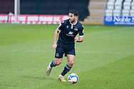 Morecambe defender Stephen Hendrie (3) travels with the ball during the EFL Sky Bet League 2 match between Stevenage and Morecambe at the Lamex Stadium, Stevenage, England on 6 February 2021.