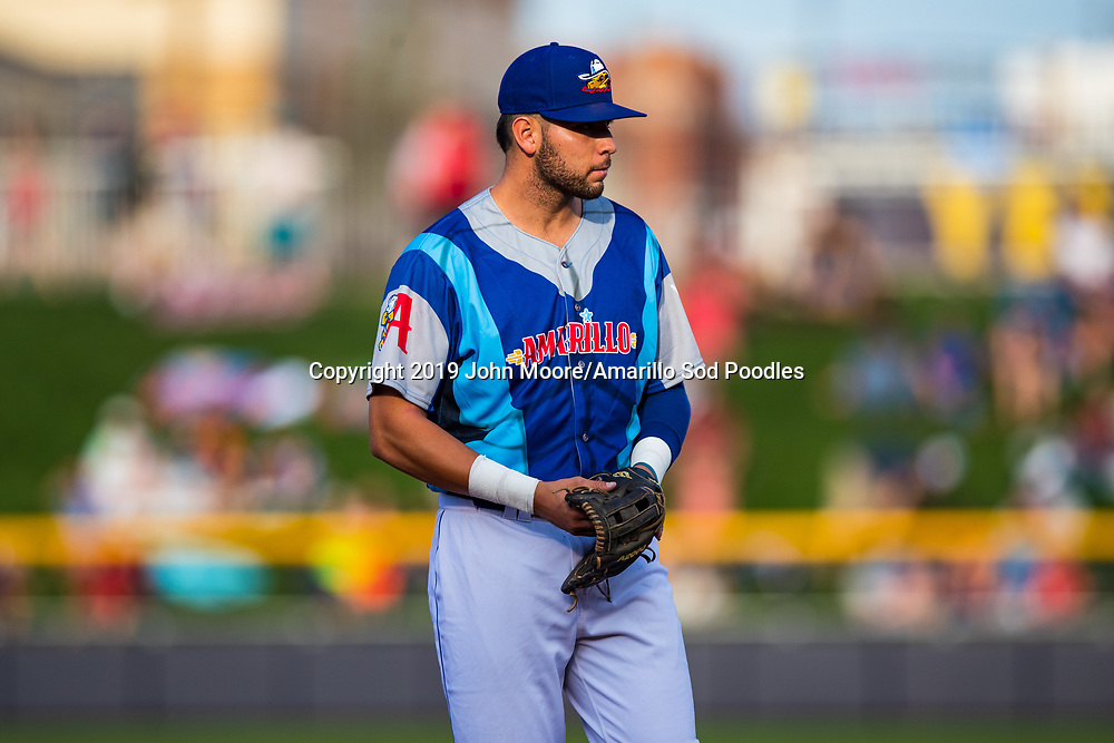 Amarillo Sod Poodles infielder Hudson Potts (10) against the Frisco RoughRiders on Saturday, Aug. 3, 2019, at HODGETOWN in Amarillo, Texas. [Photo by John Moore/Amarillo Sod Poodles]