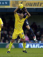 Photo: Olly Greenwood.<br />Southend United v Preston North End. Coca Cola Championship. 11/11/2006. Preston's Danny Dichio is fouled by Southend's Simon Francis