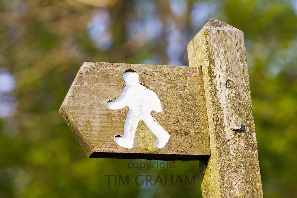 Footpath sign, Chedworth, Gloucestershire, United Kingdom