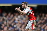 Shkodran Mustafi of Arsenal  shouting at his teammates. Premier league match, Chelsea v Arsenal at Stamford Bridge in London on Saturday 4th February 2017.<br /> pic by John Patrick Fletcher, Andrew Orchard sports photography.