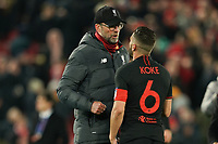 Football - 2019 / 2020 UEFA Champions League - Round of Sixteen, Second Leg: Liverpool (0) vs. Atletico Madrid (1)<br /> <br /> Liverpool manager Jürgen Klopp  is confronted by Koke of Atletico Madrid at the end of the match, at Anfield.<br /> <br /> <br /> COLORSPORT/TERRY DONNELLY