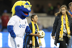 September 19, 2018 - San Jose, California, United States - San Jose, CA - Wednesday September 19, 2018: Q, mascot, Kick Childhood Cancer during a Major League Soccer (MLS) match between the San Jose Earthquakes and Atlanta United FC at Avaya Stadium. (Credit Image: © Bob Drebin/ISIPhotos via ZUMA Wire)