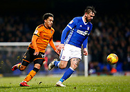 Ipswich Town defender Luke Chambers (4) Wolverhampton Wanderers striker Helder Costa (17) battles for possession during the EFL Sky Bet Championship match between Ipswich Town and Wolverhampton Wanderers at Portman Road, Ipswich, England on 27 January 2018. Photo by Phil Chaplin.