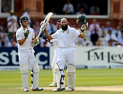 South Africa's Hashim Amla celebrates scoring 100 not out during the Third Investec Test Match at Lord's Cricket Ground, London.