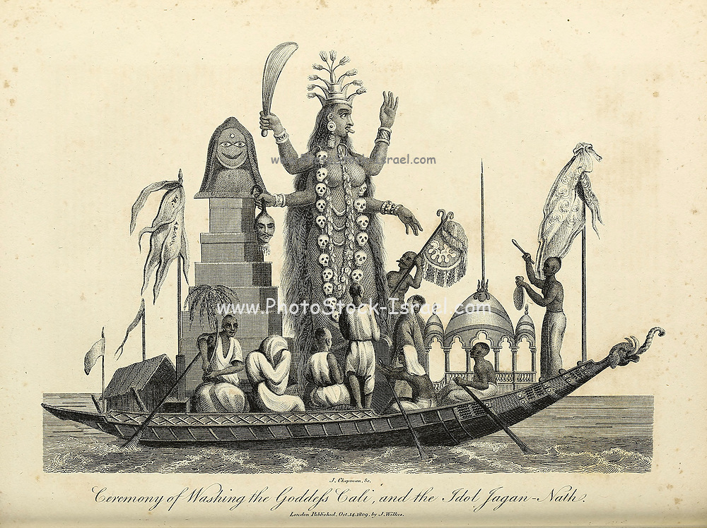 Ceremony of washing the Goddess Cali [Kali] And the Idol Jagan-Nath [Jagannath] Copperplate engraving From the Encyclopaedia Londinensis or, Universal dictionary of arts, sciences, and literature; Volume X;  Edited by Wilkes, John. Published in London in 1811