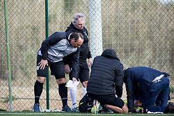 January 9, 2018 - Oliva, SPAIN - Gent's head coach Yves Vanderhaeghe comes to check out how and Gent's Moses Simon lies injured on the ground during a friendly soccer match between Belgian first division club KAA Gent and German Second Bundesliga team 1. FC Nurnberg, on day five of Gent's winter training camp in Oliva, Spain, Tuesday 09 January 2018. BELGA PHOTO JASPER JACOBS (Credit Image: © Jasper Jacobs/Belga via ZUMA Press)