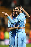 FOOTBALL - FRENCH CHAMPIONSHIP 2010/2011 - L1 - RC LENS v OLYMPIQUE MARSEILLE - 3/04/2011 - PHOTO JEAN MARIE HERVIO / DPPI - JOY BENOIT CHEYROU / ANDRE PIERRE GIGNAC (OM) AT THE END OF THE MATCH