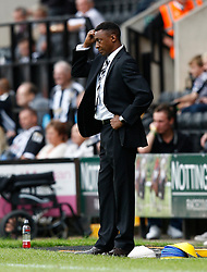 Head scratching time for Notts County boss Chris Kiwomya - Photo mandatory by-line: Matt Bunn/JMP - Tel: Mobile: 07966 386802 10/08/2013 - SPORT - FOOTBALL -  Meadow Lane - Nottinghamshire -  Notts County v Peterborough United - Sky Bet League 1