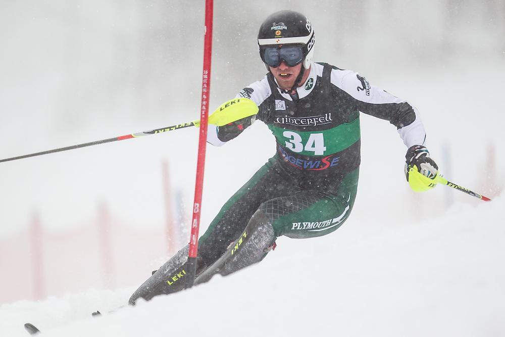 Jonathan Kellock of Plymouth State University, skis during the first run of the men's slalom at Jiminy Peak on February 14, 2014 in Hancock, MA. (Dustin Satloff/EISA)