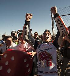 November 12, 2017 - Valencia, Valencia, Spain - 93 Marc Marquez (Spanish) Repsol Honda Team Honda celebrates his MotoGP championship during the Gran Premio Motul de la Comunitat Valenciana, Circuit of Ricardo Tormo,Valencia, Spain. Sunday 12th of november 2017. (Credit Image: © Jose Breton/NurPhoto via ZUMA Press)