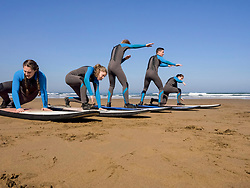 Surf lessons on Sopela Beach, Biscay, Basque Country, Spain