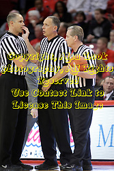 14 February 2015:   Jeff Malham, Don Daily and Terry Davis have a meeting during an NCAA MVC (Missouri Valley Conference) men's basketball game between the Wichita State Shockers and the Illinois State Redbirds at Redbird Arena in Normal Illinois
