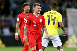 England's Kieran Trippier reacts after being fouled by Colombia's Luis Muriel (right) during the FIFA World Cup 2018, round of 16 match at the Spartak Stadium, Moscow.