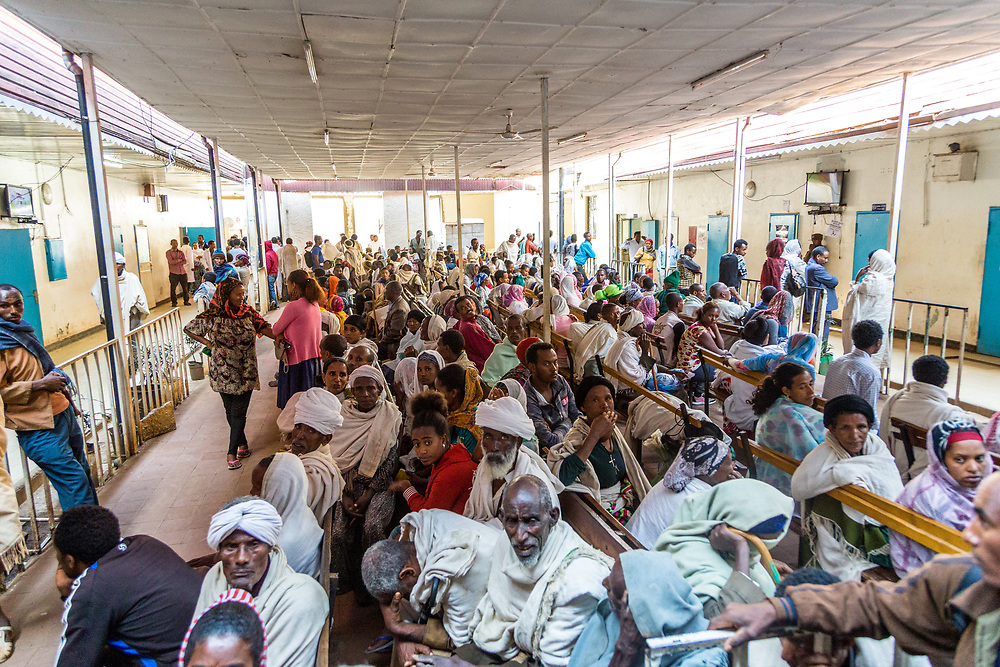 INDIVIDUAL(S) PHOTOGRAPHED: N/A. LOCATION: Felege Hiwot Referral Hospital, Bahir Dar, Ethiopia. CAPTION: The hospital treats a large number of patients, as can be told from the sheer number of individuals waiting in the Outpatient Department.