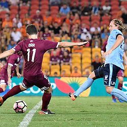 BRISBANE, AUSTRALIA - FEBRUARY 3: Tommy Oar of the Roar shoots on goal during the round 18 Hyundai A-League match between the Brisbane Roar and Sydney FC at Suncorp Stadium on February 3, 2017 in Brisbane, Australia. (Photo by Patrick Kearney/Brisbane Roar)