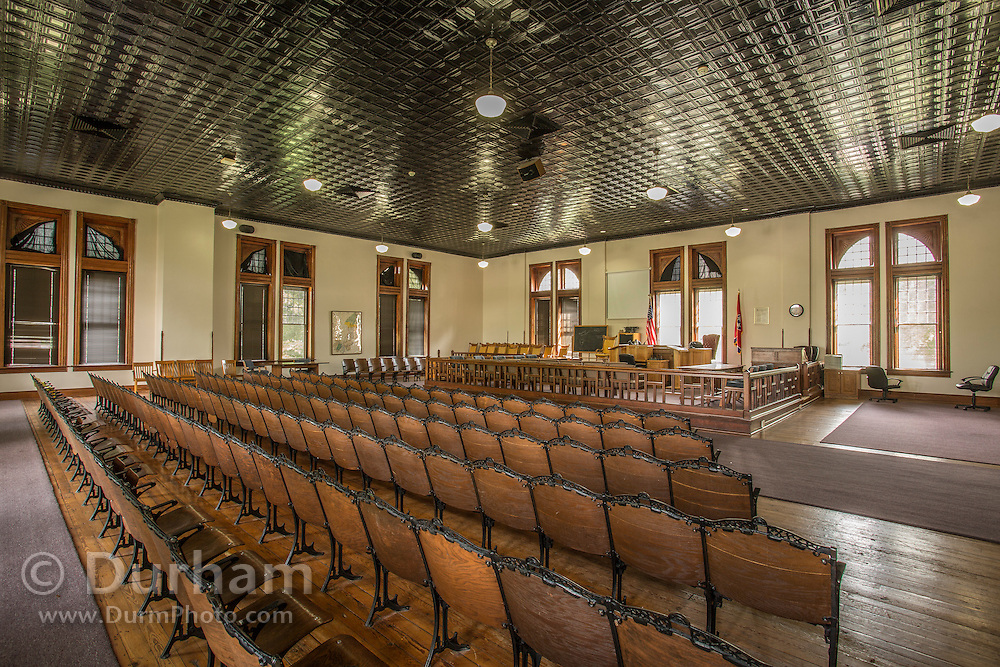 The still active yet preserved courtroom in the Rhea County courthouse, in Dayton tennessee where the Scopes trial occured in 1925.. In that year, a high school teacher, John Scopes, was accused of violating Tennessee's Butler Act, which made it unlawful to teach human evolution in any state-funded school. <br /> The trial served its purpose of drawing intense national publicity, as national reporters flocked to Dayton to cover the big-name lawyers who had agreed to represent each side. William Jennings Bryan, three-time presidential candidate for the Democrats, argued for the prosecution, while Clarence Darrow, the famed defense attorney, spoke for Scopes. The trial publicized the Fundamentalist–Modernist Controversy which set modernists, who said evolution was consistent with religion, against fundamentalists who said the word of God as revealed in the Bible took priority over all human knowledge. The case was thus seen as both a theological contest and a trial on whether modern science regarding the creation-evolution controversy should be taught in schools.