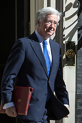Downing Street, London, April 25th 2017. Defence Secretary Michael Fallon leaves the weekly cabinet meeting at 10 Downing Street in London. Credit: ©Paul Davey