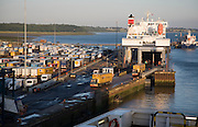 Port activity unloading ferry ship at Harwich International, Essex, England
