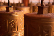 Tibetan Buddhist prayer wheels.