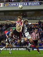 Photo. Glyn Thomas<br />Blackburn Rovers v Southampton. FA Barclaycard Premiership.<br />Ewood Park, Blackburn. 08-02-2003.<br />Southampton's James Beattie (L) battles for possession with Vratislav Gresko