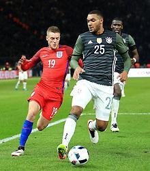 Englands Jamie Vardy closes down Germanys Jonathan Tah - Mandatory by-line: Matt McNulty/JMP - 26/03/2016 - FOOTBALL - Olympiastadion - Berlin, Germany - Germany v England - International Friendly