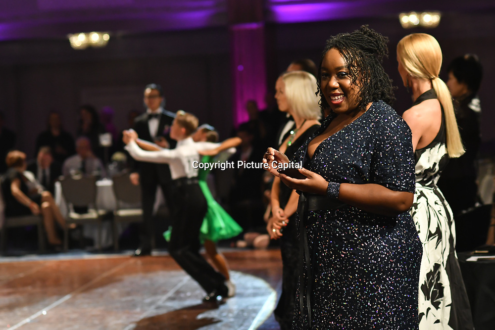Chizzy Akudolu is on a panel judging young professional dancers, with ticket proceeds raising money for Children in Need for the Paul Killick - Killick Royale Championships 2018 at The Grosvenor House Hotel, London, UK. 7 October 2018.
