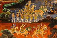 Murals in the Gallery depicting scenes from the Reamker, the Khmer version of the Hindu epic, Ramayana; Silver Pagoda, Royal Palace, Phnom Penh, Cambodia.