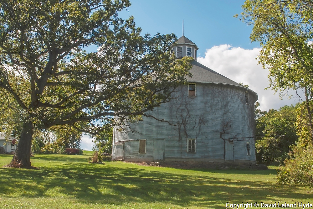 Risum Faded White Three Story Round Barn Near Orfordville, Wisconsin, vines, trees, farm buildings, carriage house, shade trees, Midwest, agriculture, Heartland America