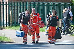 ©Licensed to London News Pictures 26/06/2020 <br /> Orpington, UK. London Air Ambulance medics on scene. Coronavirus lockdown is over and crime is back on our streets. A gang of six youths on bikes have attacked a man in Orpington,South East London this afternoon. Police, paramedics and the London Air Ambulance attended the scene to find a man with head injuries and covered in blood. Photo credit: Grant Falvey/LNP