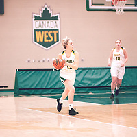 1st year guard, Madeleine Tell (15) of the Regina Cougars during the Women's Basketball Home Game on Thu Feb 14 at Centre for Kinesiology,Health and Sport. Credit: Arthur Ward/Arthur Images
