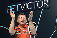 Mensur Suljovic takes to the stage during the BetVictor World Matchplay Darts 2018 semi final at Winter Gardens, Blackpool, United Kingdom on 28 July 2018. Picture by Shane Healey.