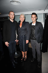 Left to right, JAMES SMALL, ROBYN PRATT and SIMON WARRINGTON the W Hotels & American Express launch for the James Small collection at Number One Leicester Square, London on 22nd September 2010.