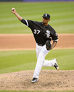 CHICAGO - JUNE 22:  Juan Minaya #37 of the Chicago White Sox pitches against the Oakland Athletics during game one of a double header on June 0220, 2018 at Guaranteed Rate Field in Chicago, Illinois.  (Photo by Ron Vesely)  Subject: Juan Minaya