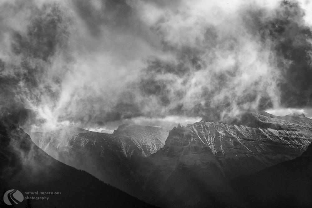 Glacier Naional Park; Logan Pass, black and white, abstract