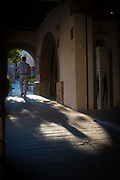 Shadows in Placa Sant Pere,  Sant Cugat del Valles, Barcelona, Catalonia, Spain