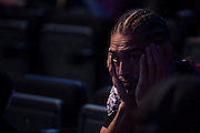 Francisco Trevino waits backstage before the UFC weigh-in at the Mexico City Arena in Mexico City, Mexico on June 12, 2015. (Cooper Neill)