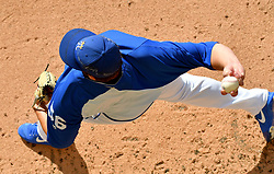 Sep 15, 2018; Kansas City, MO, USA; Kansas City Royals relief pitcher Brad Keller (56) warms up in the bullpen before the game against the Minnesota Twins at Kauffman Stadium. Mandatory Credit: Denny Medley-USA TODAY Sports