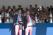 """Henley on Thames, United Kingdom, 8th July 2018, Sunday, View,  """"Fifth day"""", of the annual,  """"Henley Royal Regatta"""", Henley Reach, River Thames, Thames Valley, England, © Peter SPURRIER, Prize Giving, The Double Sculls Challenge Cup - 2018<br /> A.J. Groom & J.R.A. Beaumont"""