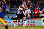 Gillingham FC forward Tom Eaves (9) scores a goal (1-1) and celebrates with team mate Gillingham FC defender Bradley Garmston (3) during the EFL Sky Bet League 1 match between Gillingham and Burton Albion at the MEMS Priestfield Stadium, Gillingham, England on 11 August 2018.