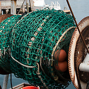 Spool of netting on a fishing trawler in Gloucester, mA on Cape Ann