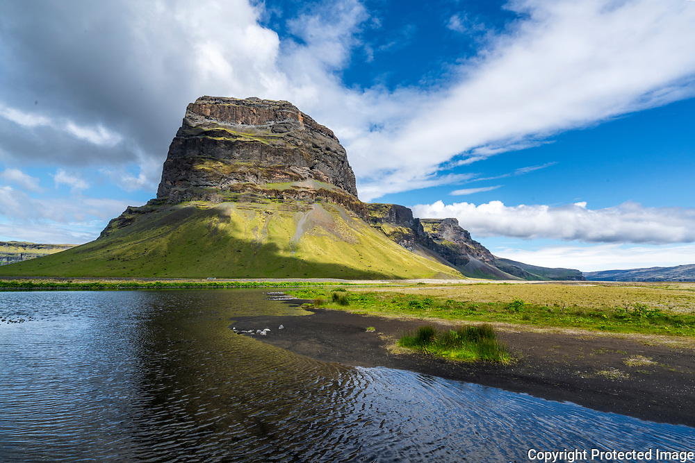The 764 m high mountain Lómagnúpur, of palagonite with layers of lava, <br /> between the town of Kirjubæjarklaustur and the Skaftafell National Park