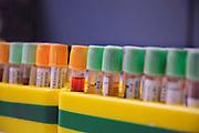 Nederland, Nijmegen, 20-5-2019 Bloedbuisjes gevuld met bloedmonsters. Biobank, opslag van organisch materiaal, dna, uit bloed, urine of weefsel van patienten dat gebruikt wordt voor onderzoek naar o.a. erfelijke ziektes.Foto: Flip Franssen