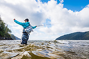 David Page fly casts at San Josef River estuary. Vancouver Island, BC