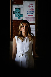 U.S. First Lady Melania Trump visits a church during a visit on traditional Basque culture in Espelette, near Biarritz as part of the G7 summit, August 25, 2019. Photo by Thibaud Moritz/ABACAPRESS.COM